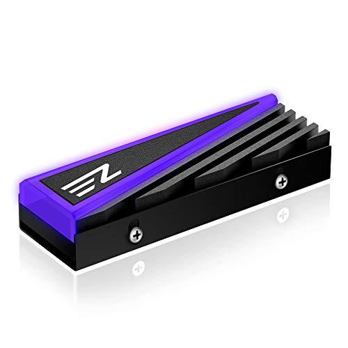 EZDIY-FAB NVME M.2 Aluminiumkühlkörper 12V 4-poliger RGB-Kühler für 2280 M2 SSD-Kühlkörper Tri-Cool mit Silikon-Wärmeleitpad