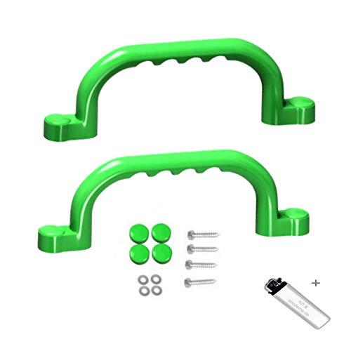 2 Stück h2i Haltegriffe Handläufe in grün ideal für Klettergerüste Baum und Spielhäuser