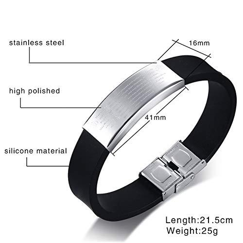 WXYBF Armband RVS Zwart Silico Ne Armbanden Voor Mannen Casual 16Mm Brede Gegraveerde Bijbel Gebed Sieraden