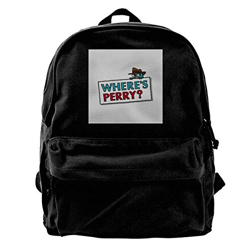 Mode lässig Leinwand Rucksack Canvas Backpack Wheres Perry The Platypus Phineas and Ferb Rucksack Gym Hiking Laptop Shoulder Bag Daypack for Men Women