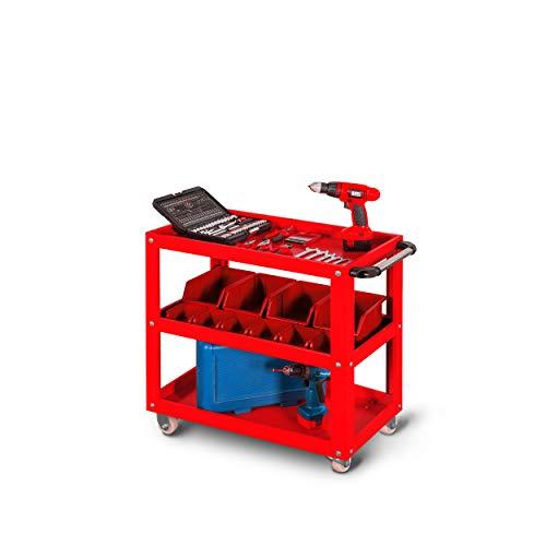 Werkzeugwagen Werkstattwagen Rollwagen Lagerwagen Etagenwagen Handgriff Pulverbeschichtung flexibel offen 78 cm x 70 cm x 40 cm (H x B x T) (Rot)
