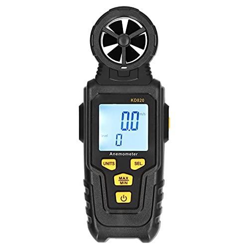 Anemómetro digital, medidor de velocidad del viento preciso portátil de mano con pantalla LCD de retroiluminación, monitor de probador de velocidad de flujo de aire de almacenamiento de datos(KD820)