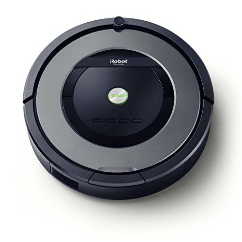 iRobot Roomba 865 Robot Aspirapolvere, sistema di pulizia ad alte prestazioni con Dirt Detect e spazzole 'tangle-free', adatto a pavimenti e tappeti, ideale per i peli degli animali domestici, programmabile, grigio