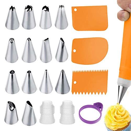 Wiederverwendbare Spritzbeutel und Tüllen für Cupcakes, Silikon-Spritzbeutel mit 14 Edelstahl-Spritztüllen, 3 Glasurglätter, 2 Koppler und 1 Krawatte für Kuchendekoration