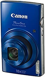 Canon PowerShot ELPH 190 Digital Camera w/10x Optical Zoom and Image Stabilization - Wi-Fi & NFC Enabled (Blue) (Renewed)
