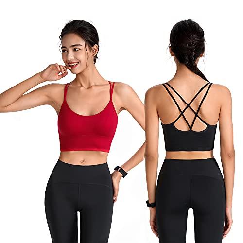 Maylisacc Sujetadores Deportivos Mujer, Sujetadores Deportivos Cruzados Espalda Cómodo con Almohadillas Extraíbles para Yoga Ejercicio Físico