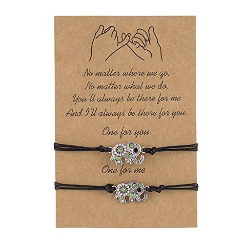 Teblacker 2 Pieces Promise Friendship Handmade Meaning Distance Matching Bracelet, Verstellbares Armband Liebe und Freundschaft Armband ihn und Ihr Geschenk
