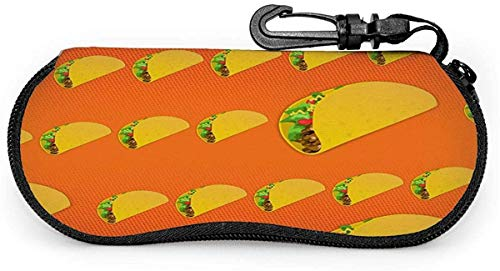MODORSAN Brillenetui Taco Food Hamburger Orange Brillenetui Box Kratzfeste tragbare Reise-Sonnenbrillenhalterung Clamshell Leichte Brille Schutzhülle mit Hakenclip für Unisex