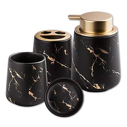 Badezimmer Set aus Keramik, 4-teiliges Stilvolles Bad Set, Luxuriöses Badezimmer Zubehör Mit Seifenspender Seifenschale und Zahnputzbecher in Marmor-Optik (Black Smiley)