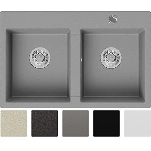 Granitspüle Grau 78 x 50 cm, Spülbecken + Siphon Automatisch, Küchenspüle ab 80er Unterschrank in 5 Farben mit Siphon und Antibakterielle Varianten, Einbauspüle von Primagran