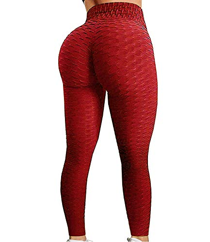 FITTOO Women's High Waist Yoga Pants Tummy Control Scrunched Booty Leggings Workout Running Butt Lift Textured Tights Peach Butt Red(L)
