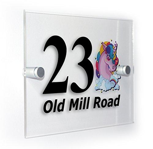 Plaque de numéro de maison avec motif de licorne - Style classique - Pour maisons, appartements, extérieur, convient à tous les types de murs - Impression couleur durable