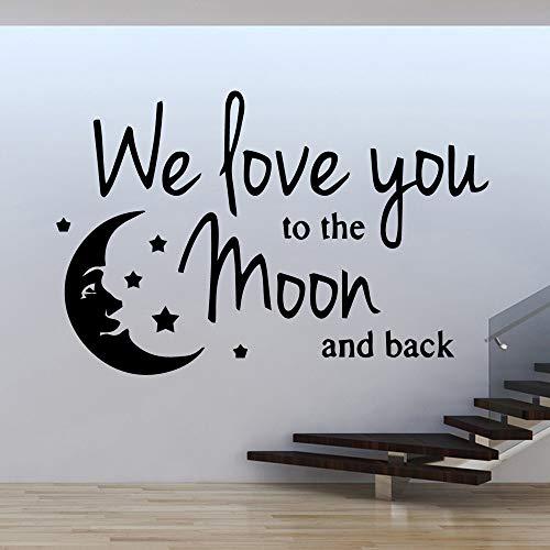 Cartoon-Stil Love Moon Pvc Wallsticker Dekor Wohnzimmer Schlafzimmer Soft Pink L 43cm x 65cm