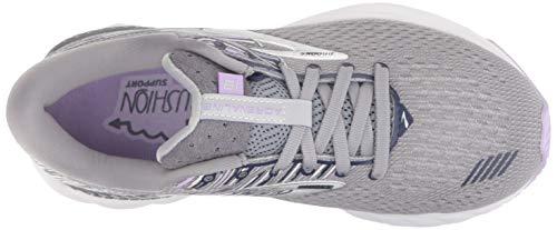 Brooks Womens Adrenaline GTS 19 Running Shoe - Grey/Lavender/Navy - B - 9.5 8