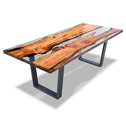 CQS Tavolo da pranzo epossidico, tavolo in legno massello per caffè Home Office mobili soggiorno tavolo da tè tavolo da tavolo, moderna resina in vetro resina epossidica ( Color : Transparent )