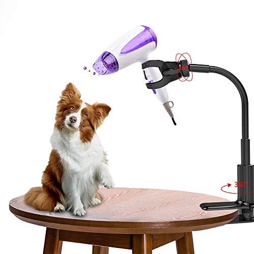 Hosdog Porta-phon per Animali Domestici, Rotazione a 360 Gradi Supporto per Asciugacapelli, Porta Phon per Tavolo per Toelettatura Cani con Morsetto Regolabile