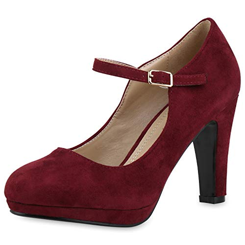 SCARPE VITA Damen Pumps Mary Janes Blockabsatz High Heels T-Strap 165862 Dunkelrot Velours 41