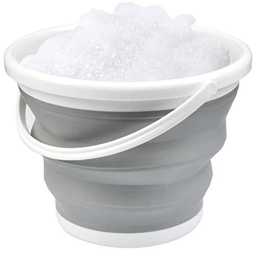 TIMESETL Cubo plegable 5 litros, cubo de agua plegable de plástico de silicona con asa, cubo plegable multiusos para pesca, camping, viaje
