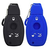 Ezzy Auto Black and Blue Silicone Rubber Key Fob Case Key Covers Key Jacket Skin Protectors fit for Mercedes Benz A B C E G R S Class
