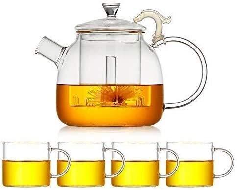 Bouilloire induction Théière à la maison Théière à la maison avec théière transparente en verre d'infuser avec petite tasse de filtre de filtre en acier inoxydable 1600 ml pour bureau WHLONG