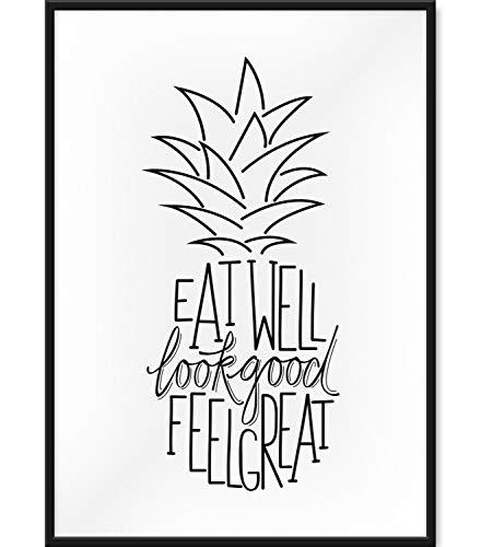 Papierschmiede Typografie Poster | DIN A3 fertig gerahmt im schwarzen Bilderrahmen aus Echtholz | Wanddeko in schwarz weiß | Ananas - Eat Well Look Good Feel Great