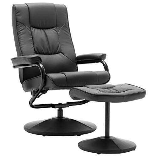 vidaXL Fernsehsessel mit Fußhocker Relaxsessel TV Sessel Liegesessel Lesesessel Polstersessel Bürosessel Ruhesessel Grau Kunstleder