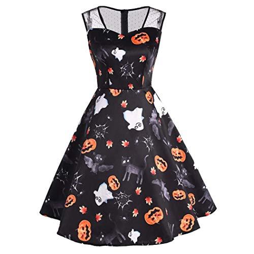 Transwen Damen Kürbis Print Kleider, Halloween-Frauen Mesh Patchwork gedruckt Vintage Kleid ärmelloses Party Kleid Swing Kleid Festliche Cocktailkleid (M, Schwarz)