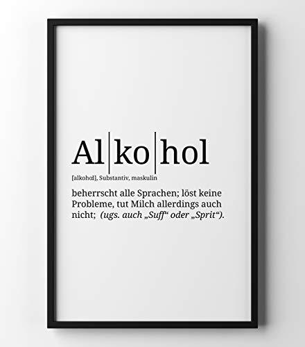 Papierschmiede Definition: Alkohol | DIN A4 | Poster mit Worterklärungen wie im Duden für Deine Wanddeko | Kunstdruck für den Bilderrahmen - ohne Rahmen