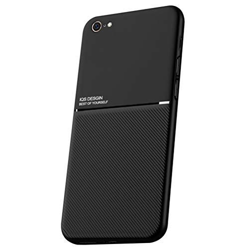 LUSHENG Funda para iPhone 6/6S, Estuche Anti-Caída de TPU Suave para iPhone 6/6S (4.7'), [Excelente Tacto] Placa Metálica Magnética Invisible Incorporada - Negro