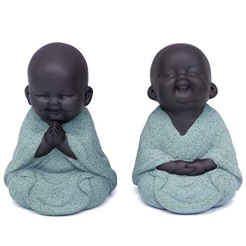 Kingzhuo Set of 2 Ceramic Tiny Cute Buddha Statue Monk Figurine Creative Baby Crafts Dolls Ornaments Gift Classic Delicate Ceramic Arts and Crafts Tea Accessories Small Adorable Gift (Green)