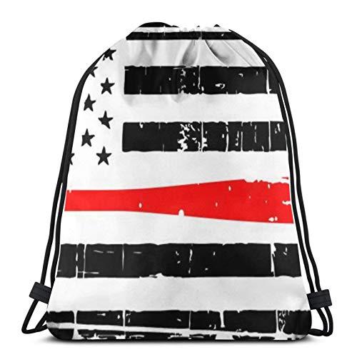 fenrris65 Bolsa con cordón de retención, línea fina roja de béisbol, bandera americana, terileno para hombre y mujer