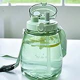 Botella de agua deportiva con pajita, jarra de agua de gran capacidad, gimnasio, niños, deportes al aire libre/campus, botella de agua portátil con correa para deportes (color: verde)