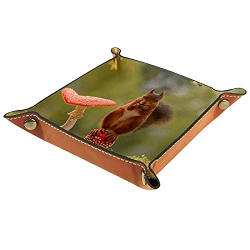 Bandeja del valet del almacenamiento del escritorio, almacenamiento plegable de cuero de la joyería de la bandeja animal de pie en seta para escritorio, oficina, llave, joyería