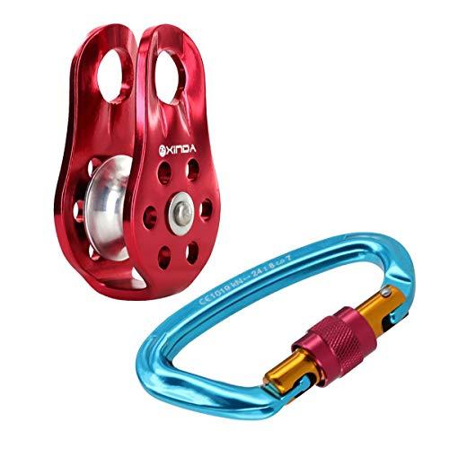 Morning May Kletterausrüstung Set: 24KN Screw Lock Karabinerhaken Schraubverschluss Karabiner + Klettern Seilrolle Umlenkrolle