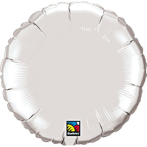 "Qualatex 18"" Silver Round Foil Balloon -  Mayflower Distributing, 16918"