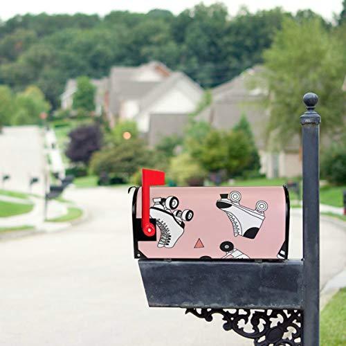 YXUAOQ Bunte Retro Rollschuhe Standardgröße Original Magnetic Mail Anschreiben Briefkasten 21 x 18 Zoll Mailbox Decor Mailboxen Abdeckungen Flagge Mailbox Cover