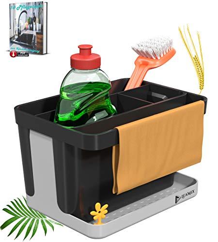 Luamex Organizador de fregadero de paja de trigo – Escurreplatos – Soporte para esponja – Organizador de utensilios de cocina – Incluye libro electrónico