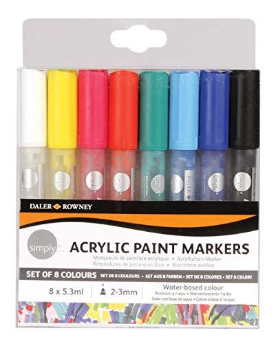 Daler Rowney 126300904 Lot de 8 marqueurs peinture acrylique 2 mm Assortis
