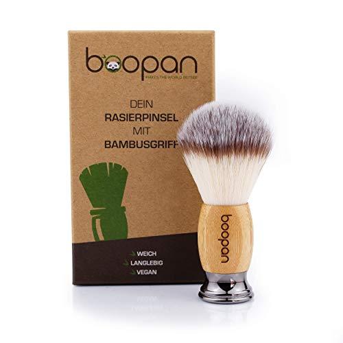 boopan® Premium Rasierpinsel vegan mit Bambus-Holz für Herren und Damen - weich wie Dachshaar - shaving brush