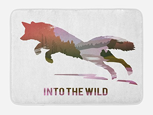 Ambesonne Fox Bath Mat, Jumping Fox Silhouette with Woodland Wilderness Hunting Design Survival Theme, Plush Bathroom Decor Mat with Non Slip Backing, 29.5' X 17.5', Lavender Brown Coral