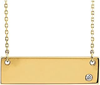 """Jewels By Lux 14K Yellow Gold .03 CT Diamond Bar 18"""" Necklace without Engraving"""