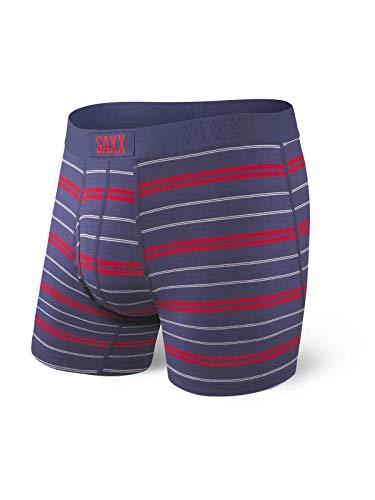 Saxx Underwear Men's Boxer Briefs- Ultra Boxer Briefs with Fly and Built-in Ballpark Pouch Support – Underwear for Men,Navy Summit Stripe,Medium