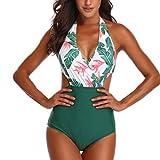 CheChury Costume da Bagno Intero Donna con Vita Alta Push-up Imbottitura Estraibile Bikini Intero Ruffles Elegante Beachwear Regolabile Fascia Costumi Interi Donna