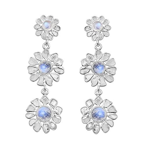 Shine Jewel 6.0 CT Slice Diamond Pendientes colgantes de flores largas con Rainbow Moonstone Plata de ley 925 Platino plateado Joyas de piedras preciosas Regalo para mujeres