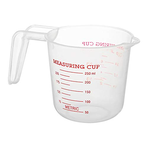 Moent Measuring Cup, High Transparent Plastic Measuring Cup With Handle 250ML (3.5×3.5×2.4inch)