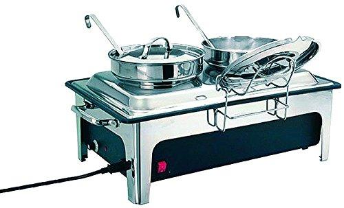 APS Chafing Dish 2 soupières 65 x 35,5 cm, H: 31 cm Acier Inoxydable