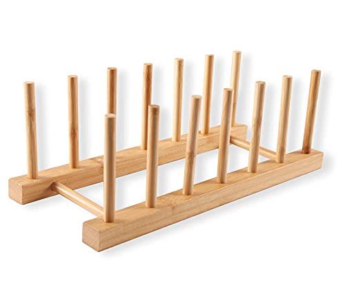 Scolapiatti da cucina per porta piatti in legno di bambù, supporto per piatti in legno di bambù,...