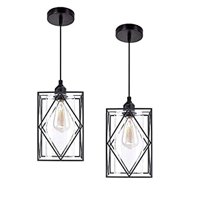 HMVPL Pendant Lighting Fixtures, Set of 2 Black Farmhouse Hanging Chandelier Lights with Glass Shade, Mini Industrial Ceiling Lamp for Kitchen Island Dining Room Over Sink Hallway Bedroom