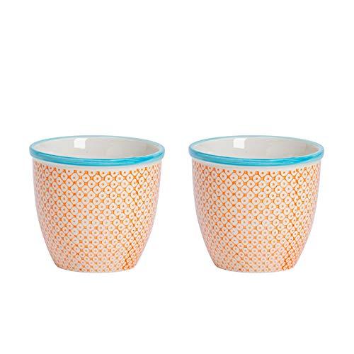 Nicola Spring Macetero de Porcelana - para Exteriores e Interiores - Estampado Naranja/Azul - Pack...