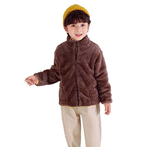 WAOTIER - Abrigo de felpa para niños y niñas, forro polar de franela, con cremallera sólida, con bolsillo, suave de doble cara marrón 130 cm